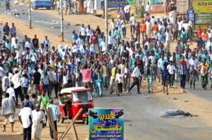 Sudanese protestors demonstrate in Khartoum's twin city of Omdurman after the government announced steep price rises for petroleum products after suspending state subsidies as part of crucial economic reforms on September 25, 2013.