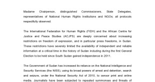 10-10-15 FIDH ACJPS Joint Oral Statement FOE Sudan  (1)-page0001