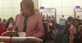 Angelina Seeka of End Impunity, reading oral statement at ACHPR 58th Ordinary Session