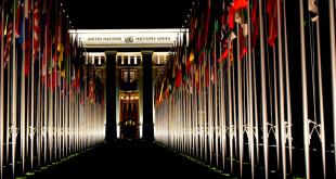palais des nations at night