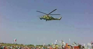 SAF Helicopter over Kalma IDP camp 22 September 2017