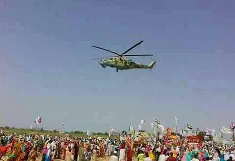 SAF Helicopter over Kalma IDP camp 22 September 2017